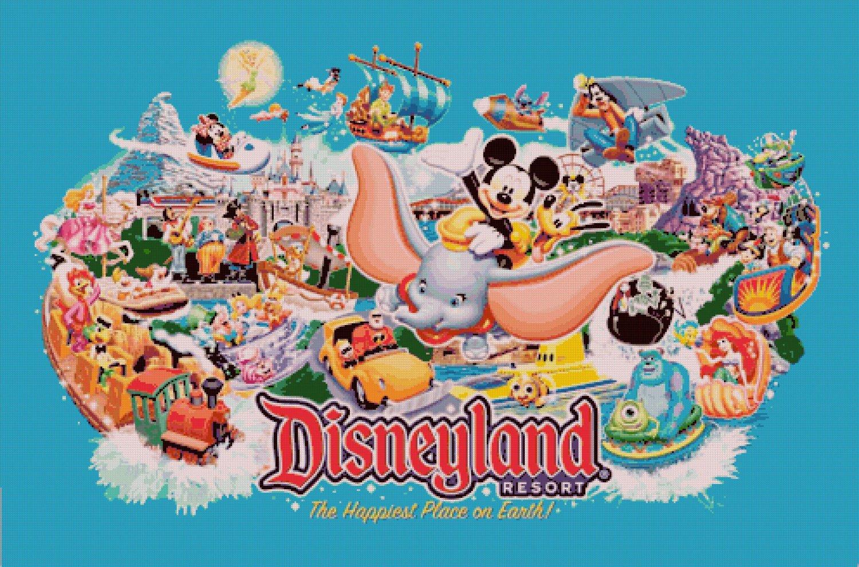 """Disneyland - 35.43"""" x 23.43"""" - Cross Stitch Pattern Pdf E844"""