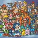 """All nintendo characters - 35.43"""" x 20.57"""" - Cross Stitch Pattern Pdf E839"""