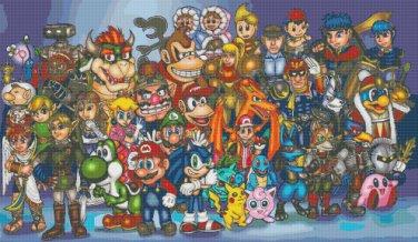 "All nintendo characters - 35.43"" x 20.57"" - Cross Stitch Pattern Pdf C839"