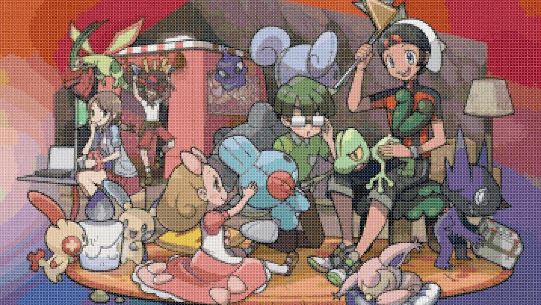 """Pokemon ORAS Secret Base - 25.57"""" x 14.43"""" - Cross Stitch Pattern Pdf E855"""