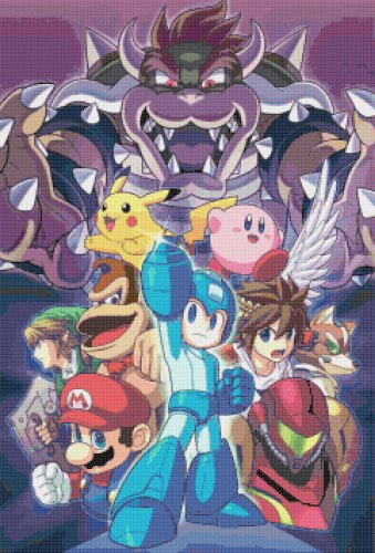 "Super Smash Bros Mega Man - 17.21"" x 25.36"" - Cross Stitch Pattern Pdf C856"