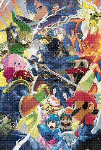 "Super Smash Bros Lucina and Robin - 17.21"" x 25.36"" - Cross Stitch Pattern Pdf C857"