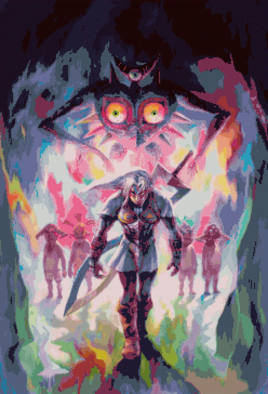 "Zelda Majora's Mask 3D - 17.71"" x 26.00"" - Cross Stitch Pattern Pdf E861"