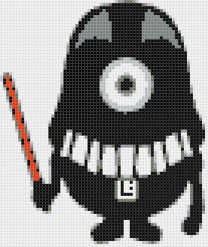 """Minion Darth Vader - 4.93"""" x 5.86"""" - Cross Stitch Pattern Pdf C902"""