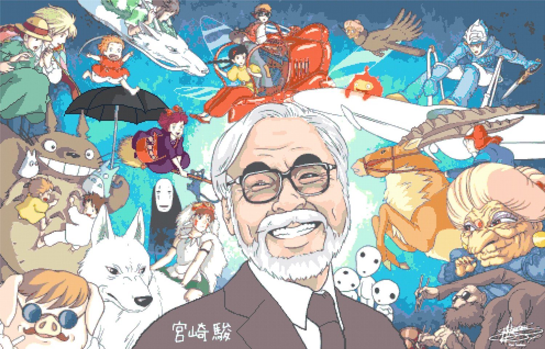 """All characters of Hayao Miyazaki - 35.43"""" x 22.71"""" - Cross Stitch Pattern Pdf E157"""