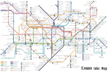 """Tube map of london with texts of station - 35.21"""" x 23.29"""" - Cross Stitch Pattern Pdf C1178"""