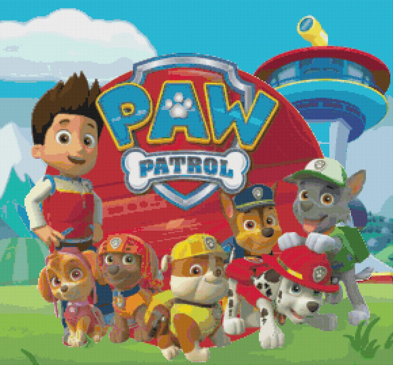 "paw patrol characters  2071"" x 1921""  cross stitch"