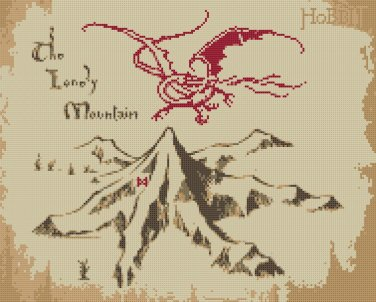 """The Lonely Mountain and Smaug The hobbit - 13.50"""" x 10.86"""" - Cross Stitch Pattern Pdf C1014"""