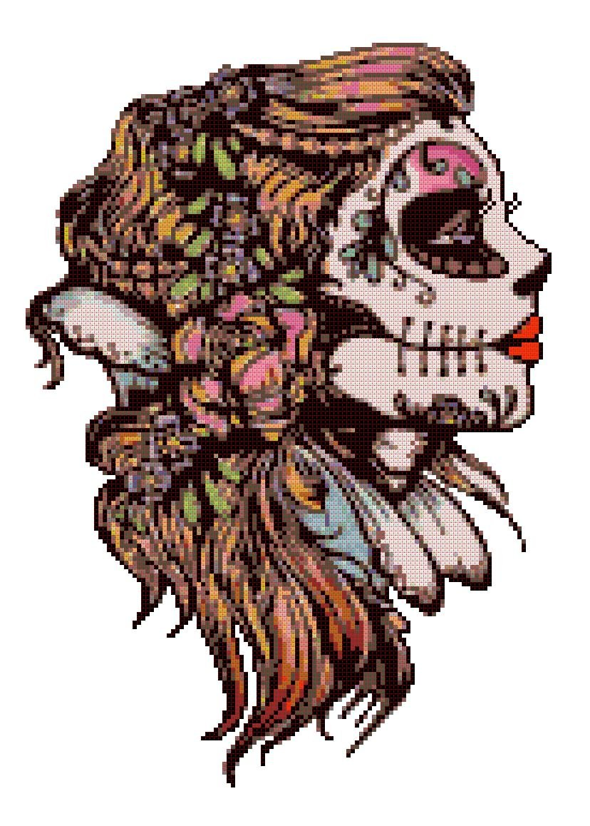 """Sugar Skull dead girl - 8.79"""" X 12.43"""" - Cross Stitch Pattern Pdf C1181"""