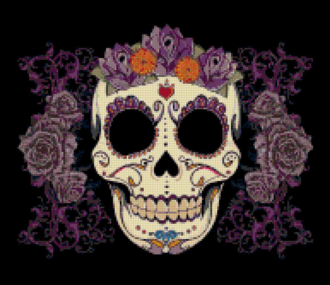 """Sugar Skull  - 13.79"""" x 11.93"""" - Cross Stitch Pattern Pdf E776"""
