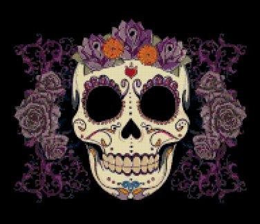 """Sugar Skull  - 13.79"""" x 11.93"""" - Cross Stitch Pattern Pdf C776"""