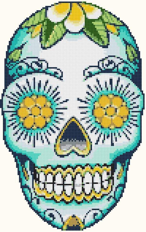 """Sugar Skull  - 7.07"""" x 11.21"""" - Cross Stitch Pattern Pdf file chart E638"""
