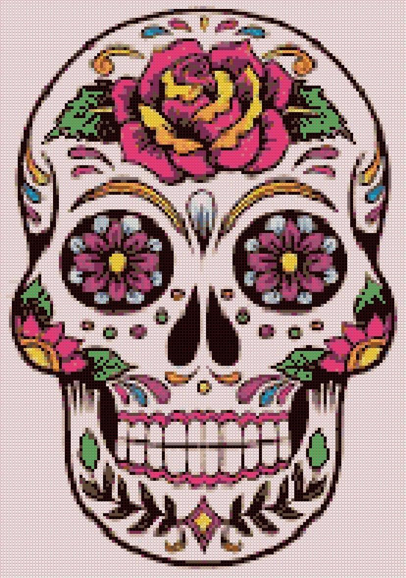 """Sugar Skull  - 9.86"""" x 14.00"""" - Cross Stitch Pattern Pdf file chart E886"""