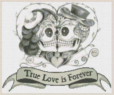 "Sugar Skull Couples  - 14.14"" x 11.79"" - Cross Stitch Pattern Pdf file chart C1177"