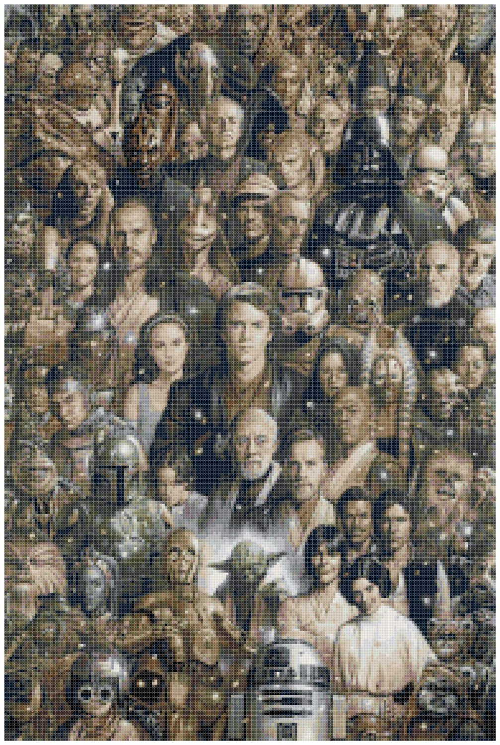 "Star wars all characters  - 13.79"" x 20.57"" - Cross Stitch Pattern Pdf E1246"