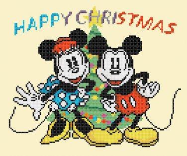 """minni and mickey christmas 2016 - 9.07"""" x 7.50"""" - Cross Stitch Pattern Pdf C1249"""