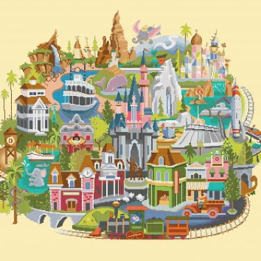 Disneyland map - 25.29 x	22.29 inches with AIDA 14 - Cross Stitch Pattern Pdf C1250