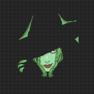 "Elphaba green witch  - 14.29""x14.36"" - Cross Stitch Pattern Pdf C1255"