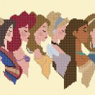 "12 princesses profile - 17.86"" x 6.71"" - Cross Stitch Pattern Pdf E1262"