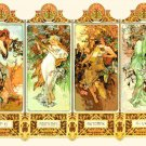 "mucha four season - 26.50"" x 19.36"" - Cross Stitch Pattern Pdf E1285"