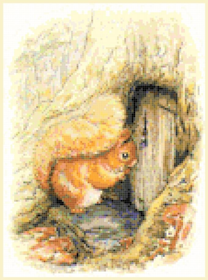 "Squirrel nutkin by beatrix potter - 7.87"" x 10.62"" - Cross Stitch Pattern Pdf E1299"