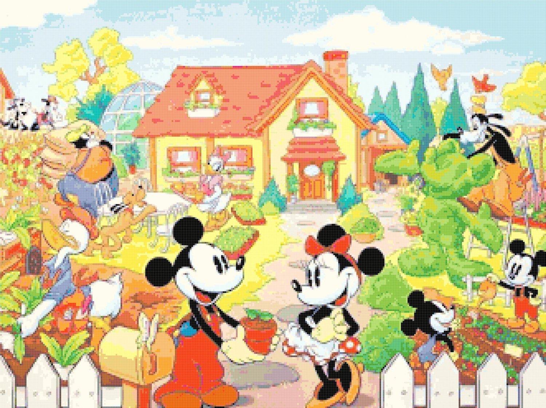 "mickey and minnie married - 23.64"" x 17.71"""" - Cross Stitch Pattern Pdf E1301"