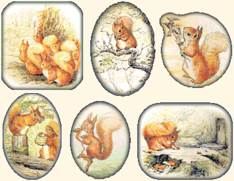 "six scenes with squirrel nutkin by potter - 25.57"" x 19.71"" - Cross Stitch Pattern Pdf E1302"
