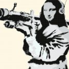 "Mona Lisa murales by banksy - street art - 20.36"" x 13.29"" - Cross Stitch Pattern Pdf C1317"