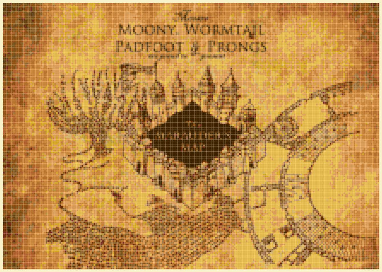 "marauder's map Harry Potter - 15.71"" x 11.14"" - Cross Stitch Pattern Pdf E1320"