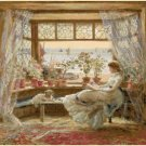 "Reading by window by Charles James Lewis - 23.64"" x 18.50"" - Cross Stitch Pattern Pdf E1330"
