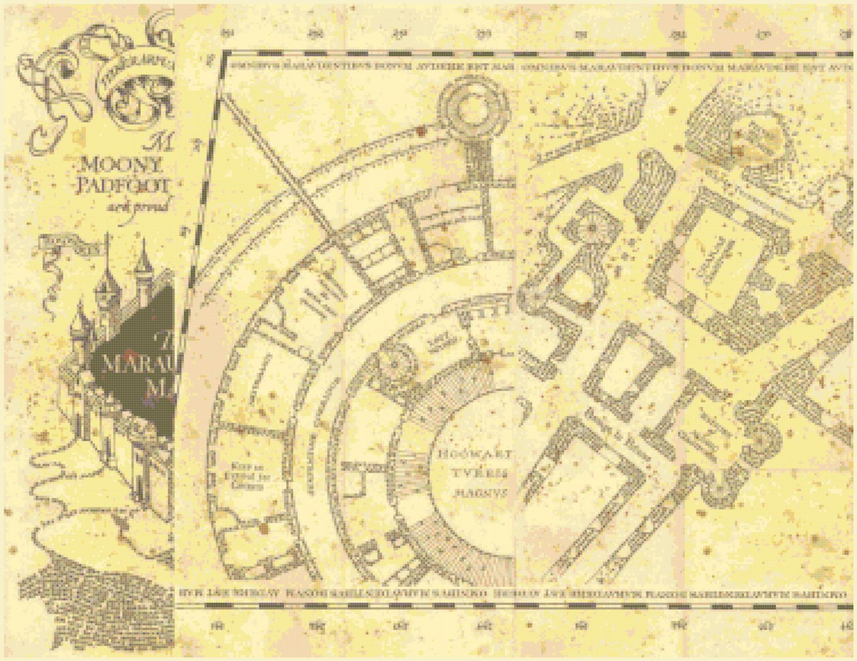 "left portion marauder's map Harry Potter - 26.64""x 20.50"" - Cross Stitch Pattern Pdf E1334"