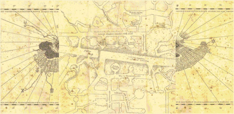 "central portion of marauder's map Harry Potter - 42.21"" x 20.50"" - Cross Stitch Pattern Pdf E1335"