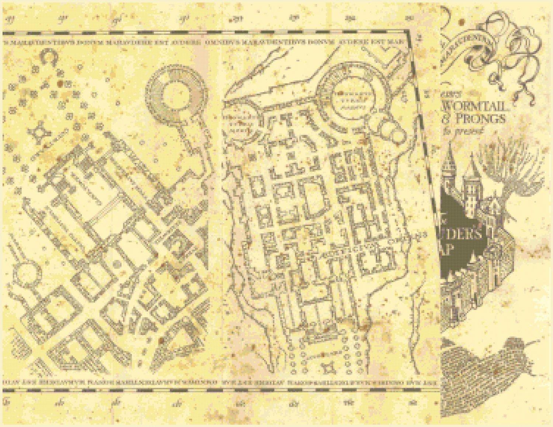 "right portion of marauder's map Harry Potter - 26.64""x 20.50"" - Cross Stitch Pattern Pdf E1336"