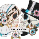 "Sugar Skull Couples  - 11.79"" x 8.93"" - Cross Stitch Pattern Pdf file chart C641"