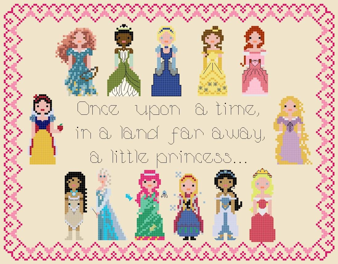 "Disney Princess Pixel People - 11.00"" x 8.43"" - Cross Stitch Pattern Pdf E1113"