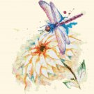 "dragonfly watercolor Counted Cross Stitch Pattern - 14.29"" x 18.57"" - C1345"