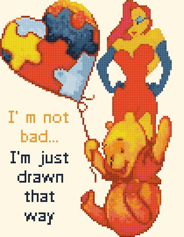"""Winnie the Pooh Cross Stitch Pattern Pdf files - 7.50"""" x 9.64"""" - E1354"""