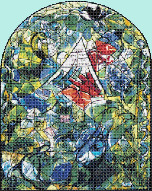 "Chagal Issachar Cross Stitch Pattern stained cross stitch - 18.36"" x 23.00""- E1360"