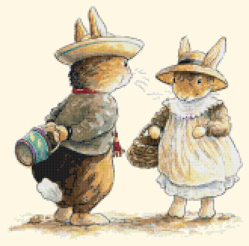 """two rabbits Cross Stitch Pattern Cross Stitch Pattern beatrix potter - 17.79"""" x 11.64"""" - E1361"""