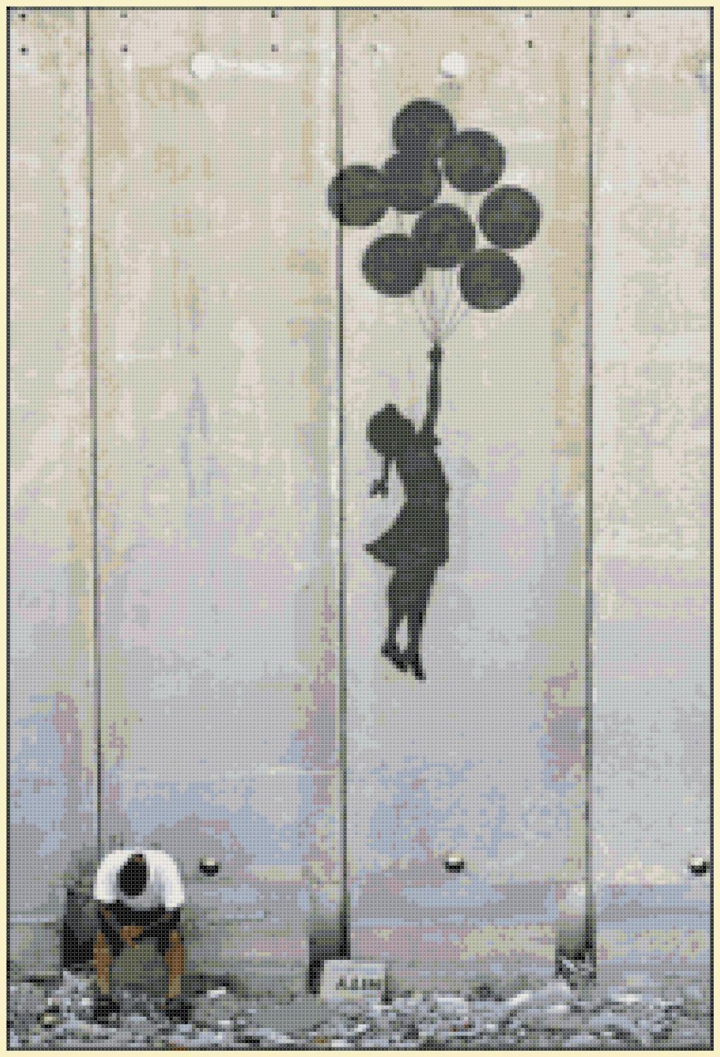 "girl with ballons murales by banksy Cross Stitch Pattern street art - 13.36"" x 19.71"" - E1367"
