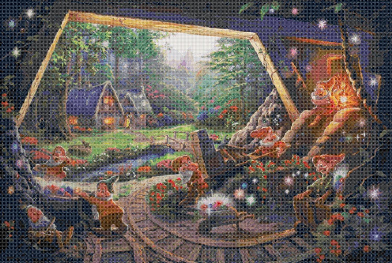 "Snow White cross stitch inspirated to Kinkade Counted Cross Stitch - 35.43"" x 23.79"" - E1605"