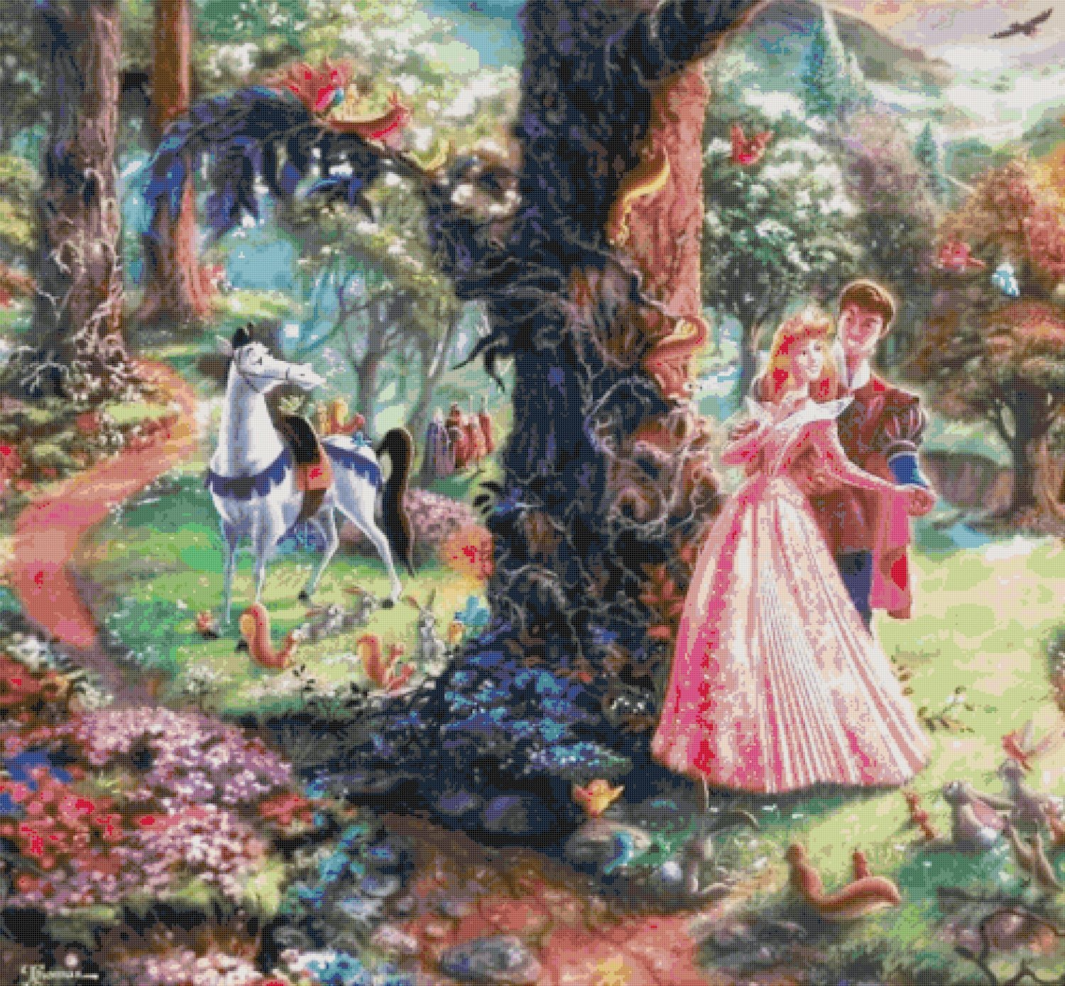 "Sleeping Beauty cross stitch pattern Kinkade Cross Stitch pattern - 35.43"" x 32.79"" - E1624"