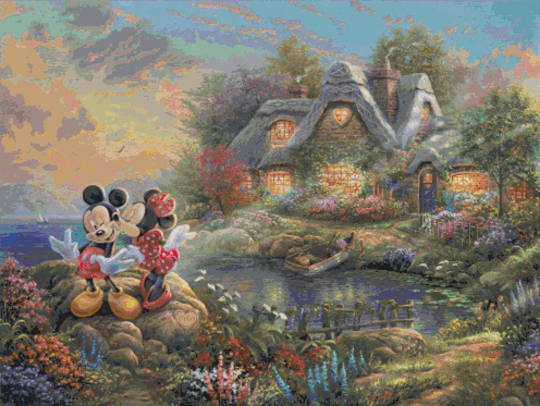 "mickey and minnie cross stitch pattern Kinkade Cross Stitch - 35.43"" x 26.64"" - E1625"