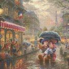 "mickey and minnie in Paris cross stitch pattern Kinkade Cross Stitch - 35.43"" x 26.57"" - C1774"