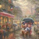 mickey and minnie in Paris cross stitch pattern Kinkade Cross Stitch 496* 372 stitches E1774