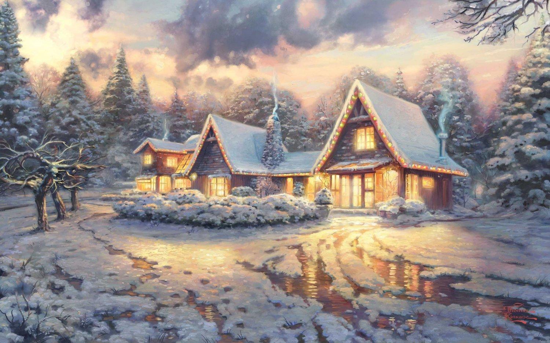 The Christmas Cottage cross stitch pattern Kinkade Cross Stitch 496* 310 stitches E198