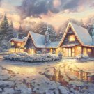 "The Christmas Cottage cross stitch pattern Kinkade Cross Stitch - 35.43"" x 22.14"" - C198"