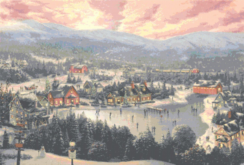 Sunset on Snowflake Lake cross stitch pattern Kinkade Cross Stitch 496* 335 stitches E461