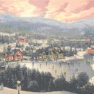 "Sunset on Snowflake Lake cross stitch pattern Kinkade Cross Stitch - 35.43"" x 23.93"" - E461"