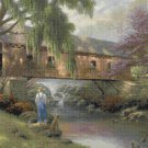 "Old fishin hole cross stitch pattern Kinkade Cross Stitch - 35.43"" x 22.14"" - E813"